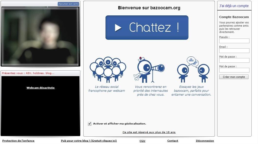 Bazoocam - Apercu Tchat
