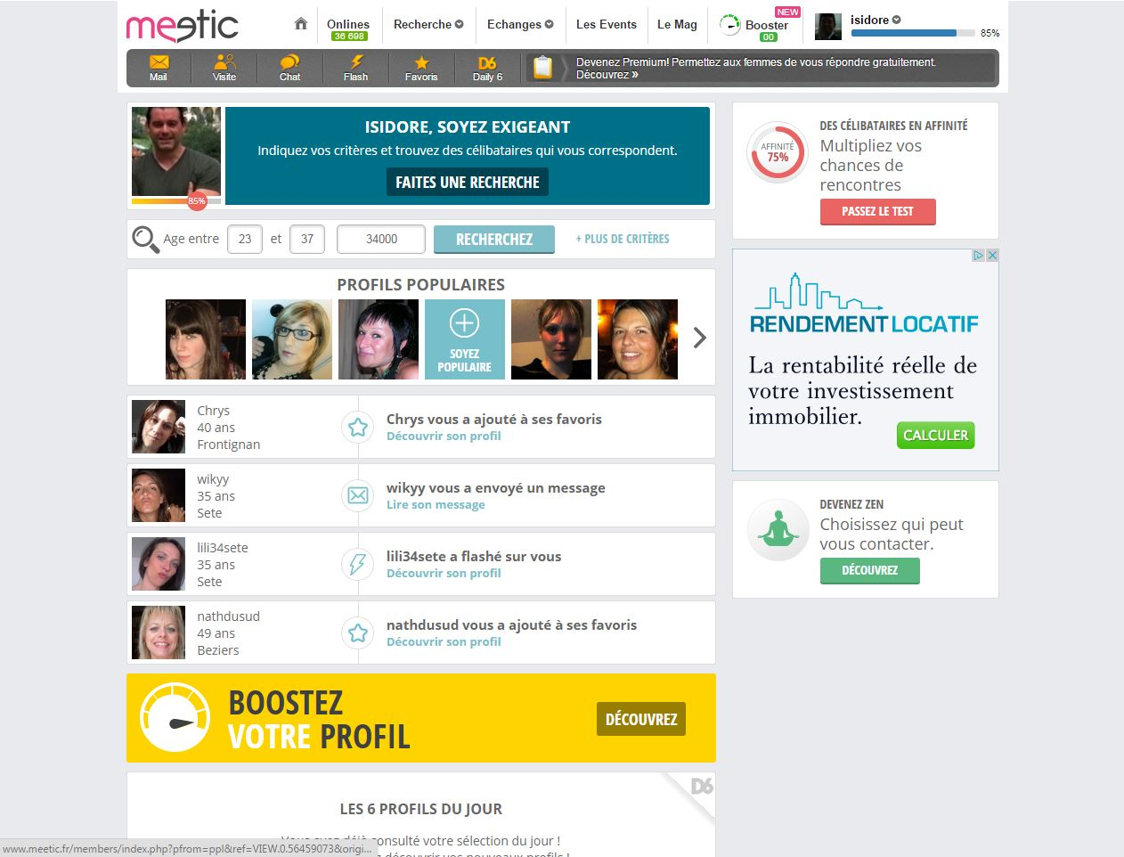 Meetic Interface Apercu